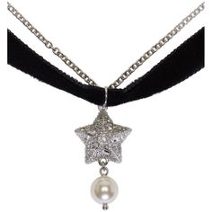 Silver Star and Pearl Charm Necklace Miu Miu