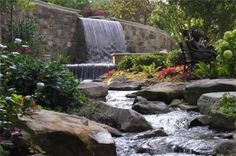 I love the Limelight Hydrangea off to the right!Backyard Stream Pond and Waterfall Craig Design Group Chattanooga, TN Backyard Stream, Backyard Water Feature, Ponds Backyard, Backyard Ideas, Backyard Waterfalls, Fish Ponds, Garden Pond Design, Garden Pool, Landscape Design