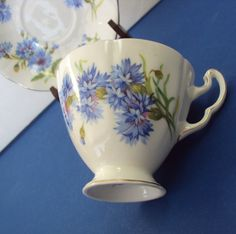 Royal Adderley English Teacup with Blue Cornflowers