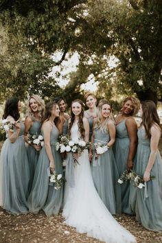 Elegant Dusty Blue Farm Wedding at Terra Madre Gardens Dusty blue bridesmaids dresses Dusty Blue Bridesmaid Dresses, Wedding Bridesmaid Dresses, Mint Green Bridesmaids, Wedding Gowns, Modest Wedding, Bride Dresses, Trendy Wedding, Party Dresses, Bridesmaid Colours