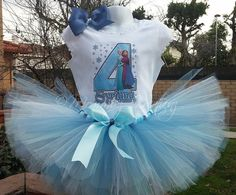 Frozen tutu set Frozen birthday outfit Elsa  by MommiesKreationz, $13.75