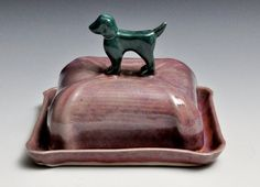 Red and Teal Dog Ceramic Butter Dish