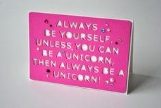 Glückwunschkarten - Grußkarte *Unicorn* - ein Designerstück von various_art bei DaWanda