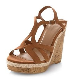Tan Strappy Cork Wedges | New Look