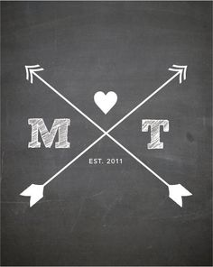 CUSTOM Typography Print - CHALKBOARD Print with arrows and initials - Nursery Art  - Wedding Art -  Size 8x10 on Etsy, $18.70