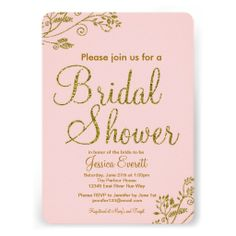Blush Pink Gold Glitter Bridal shower Invitation