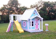 The Residence Playhouse Playhouse With Slide, Build A Playhouse, Playhouse Outdoor, Kids Backyard Playground, Backyard For Kids, Backyard Projects, Painted Playhouse, Wooden Playhouse, Cubby Houses