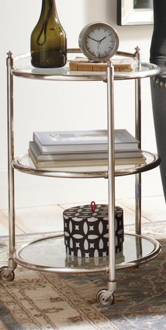 Recall The Luster Of Old Hollywood With Our 3 Tier Mobile Side Table. Its