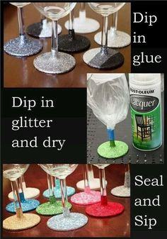 Stem Wine Glasses Perfect For Parties Glitter wine glasses - would be perfect with dollar store wine glasses for NYE or a bachelorette party.Glitter wine glasses - would be perfect with dollar store wine glasses for NYE or a bachelorette party. Glitter Wine Glasses, Diy Wine Glasses, Decorated Wine Glasses, Painted Wine Glasses, Glitter Cups, Decorated Bottles, Painted Bottles, Glitter On Glass, Silver Glitter