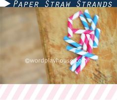 bracelet or necklace made from striped paper straws cut to make beads then strung