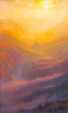 """American Legacy Fine Arts presents """"Mist and Mountains; Sunset over the San Gabriels"""" a painting by Peter Adams."""