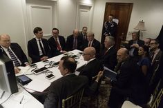 Photo shows the moment Trump's team huddled to decide on Syria strikes