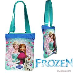 DISNEY'S FROZEN CROSS BODY BAGS. With a beautiful image of Elsa and Anna, a zipper closure and a woven strap that adjusts from 19 to 37 inches.  Size 10 X 8 Inches