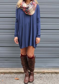 Blue Plain Round Neck Casual Mini Dress