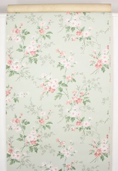 Rosie's Vintage Wallpaper - 1940's Vintage Wallpaper Pink Flowers on Light Green, $55.00 (http://www.rosiesvintagewallpaper.com/1940s-vintage-wallpaper-pink-flowers-on-light-green/)