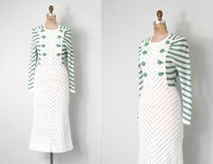 1930s hand-crocheted dress - green and white cotton yarn in such a great striped design