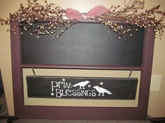 Primitive Country Handmade Chalkboard by CountryCraftWindows, $42.00