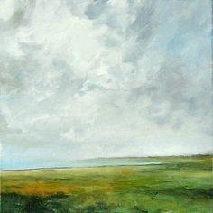 Landscape Oil Painting CUSTOM 36x36 Modern Abstract Sky Cloud BAY ART by J Shears on Etsy, $600.00