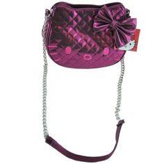 Sanrio Hello Kitty BLING   SPARKLE DARK PINK Metallic Sheen Quilted Chain  Strap Zip Top Shoulder Hand Bag 9