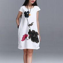 Nueva moda 2016 verano artes estilo de la alta calidad de algodón de lino Loose mujeres ocasionales de los vestidos Vintage impresión de tinta vestido corto de la manga(China (Mainland))
