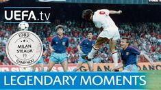 See how Dutch duo, Ruud Gullit and Marco van Basten scored two apiece in the Camp Nou final as Milan comprehensively beat Steaua. Ruud Gullit, Marco Van Basten, Camp Nou, Master Class, Milan, In This Moment, Baseball Cards, Sports, Hs Sports
