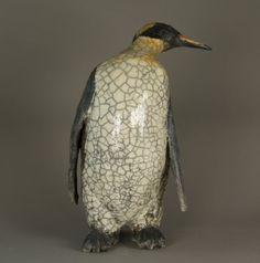Joanna HAIR, penguin, raku glaze