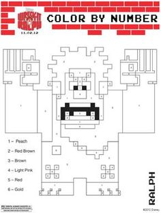 Wreck It Ralph Color by Number printable