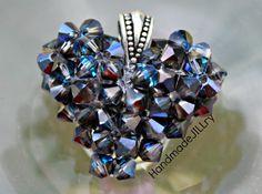 Bermuda Puffed Heart Necklace Swarovski Crystal by HandmadeJILLry, $40.00