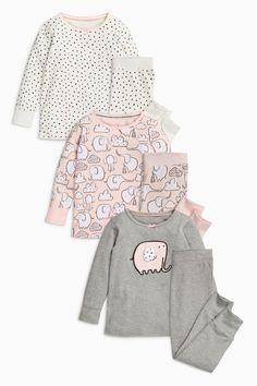 Comprar Pack de tres pijamas abrigados en rosa y verde con estampado de elefante (9 meses-8 años) from Next Mexico