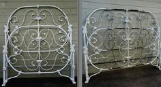 A beautiful design made even more dramatic after being converted to king size. Target Home Decor, Cheap Home Decor, Cozy Bedroom, Bedroom Sets, Vintage Bed Frame, Antique Iron Beds, Pastel Room, King Size, Entryway Decor