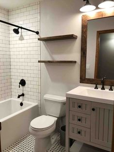 Stunning Black and White Subway Tiles Bathroom Design bathroom bathroomideas bathroomdesign 135741376255522115 Bathroom Tile Designs, Bathroom Floor Tiles, Tile Floor, Bathroom Ideas, Bathroom Cabinets, Bathroom Vanities, Shower Ideas, Bathtub Tile, Wainscoting Bathroom