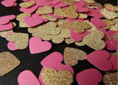 Gold and Pink Glittery Hearts Paper Confetti Perfect For Valentine's Day Decor, Table Decor for Birthday Parties, Baby Showers and More! Valentines Day Party, Valentines Day Decorations, Be My Valentine, First Birthday Parties, First Birthdays, Birthday Table, 15th Birthday, Birthday Ideas, Gold Baby Showers