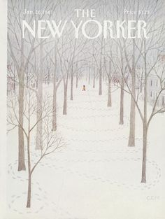 The New Yorker Cover - January 1981 Poster Print by Charles E. Martin at the Condé Nast Collection - New Yorker Cover Quiz The New Yorker, New Yorker Covers, Framed Art Prints, Poster Prints, Posters, Spring Landscape, Winter Scenery, Illustration, Magazine Art