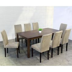 Warehouse Of Tiffany 9 Piece Light Brown Juno Table Dining Set   Overstock  Shopping