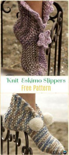 Knit Eskimo Slippers Free Pattern - Knit Adult Slippers Free Patterns