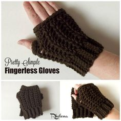 Free crochet pattern for thePretty Simple Fingerless Gloves. These gloves are available in one size only, but can be adjusted as needed.