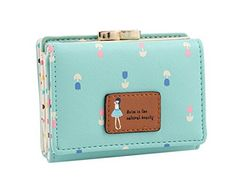 PGXT Womens Short Leather Flower Girl Clutch Card Holder Purse Wallet Sky Blue * Find out more about the great product at the image link.