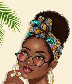 Beautiful black woman with afro hairstyle flower scarf and earrings / AFRO QUEEN / sexy and beauty Sexy Black Art, Black Love Art, Black Girl Art, My Black Is Beautiful, Black Girl Magic, African American Art, African Art, Drawings Of Black Girls, Black Girl Cartoon