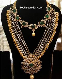 18 carat gold simple diamond emerald necklace and pearl haram with diamond pendant by Parnicaa Jewellery. Jewelry Design Earrings, Gold Jewellery Design, Necklace Designs, Diamond Jewellery, Jewlery, Diamond Rings, Designer Jewellery, Mom Jewelry, Geek Jewelry