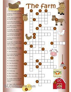 Crossword on farm vocabulary. English Teaching Materials, Teaching English Grammar, English Vocabulary, Russian Language Lessons, English Lessons, Kids English, Learn English, English Class, English Exercises