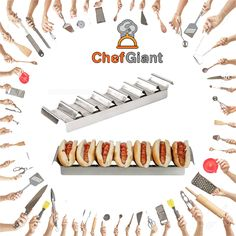 ChefGiant Hot Dog Make Up Tray, 7 Slot, Stainless Steel #ChefGiant #KitchenAccessories #Cookware #HotDogMakeUpTray