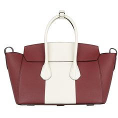 Bally Handle Bag - Sommet MD Leather Tote Dark Red/Bone - in red,... (1 765 AUD) ❤ liked on Polyvore featuring bags, handbags, tote bags, handbags totes, genuine leather tote, red leather tote, leather tote and leather tote handbags
