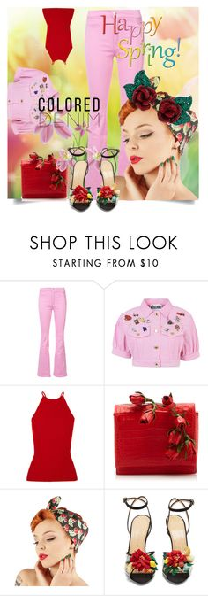 """Spring Trend: Colored Denim"" by kari-c ❤ liked on Polyvore featuring Givenchy, Moschino, Alexander Wang, Nancy Gonzalez, Charlotte Olympia, Atelier Swarovski and coloredjeans"
