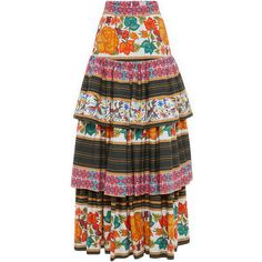 Stella Jean Mietitore Skirt ($920) ❤ liked on Polyvore featuring skirts, long tiered skirt, long cotton skirts, floral skirt, floral print skirt and ankle length skirt