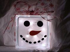 cricut glass block ideas | glass block snowman