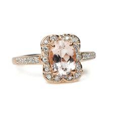 14k Rose Gold Diamond Morganite Ring – Sparkle & Jade