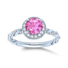 Amazon.com: Pink Stone & Cubic Zirconia Halo Style Ring in Alloy 18k White Gold Plated: Jewelry