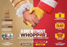 Burger King - A day without Whopper David Agency Argentina Creative Advertising, Ads Creative, Advertising Campaign, Print Advertising, Street Marketing, Guerilla Marketing, Web Banner Design, Web Banners, Design Design