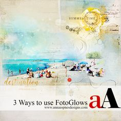 Creative Team Member, Miki, shows us 3 ways to use FotoGlows: Above, Between, and Under.   1. FotoGlows Above, Adding Color. Create a new 12x12 300 DPI Layout. Move an ArtsyPaper of choice onto your layout. Open an move an element onto your page. I chose the