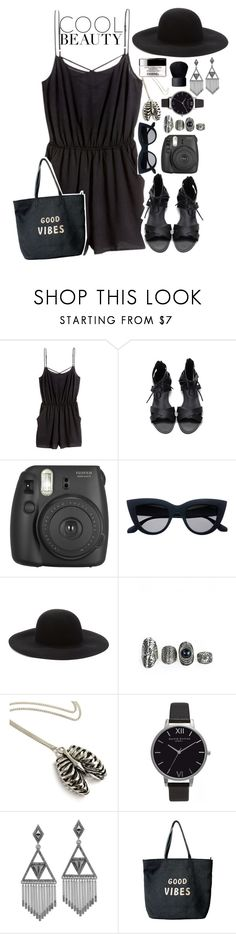 """""""COOL BEAUTY/ All Black Summer """" by drunk-inlove ❤ liked on Polyvore featuring H&M, Forever 21, Olivia Burton, House of Harlow 1960, Venus and NARS Cosmetics"""